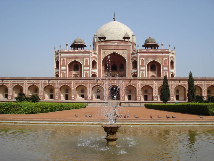 Grand frontage and white-domed roof of Humayun's Tomb in Delhi