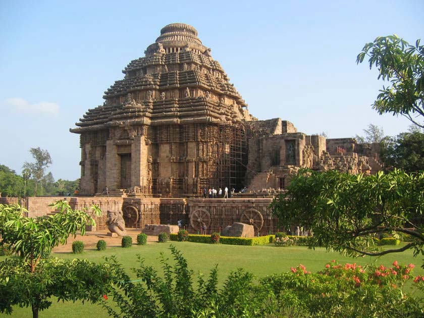 The intricately carved the 13th century Sun Temple in Konark, India