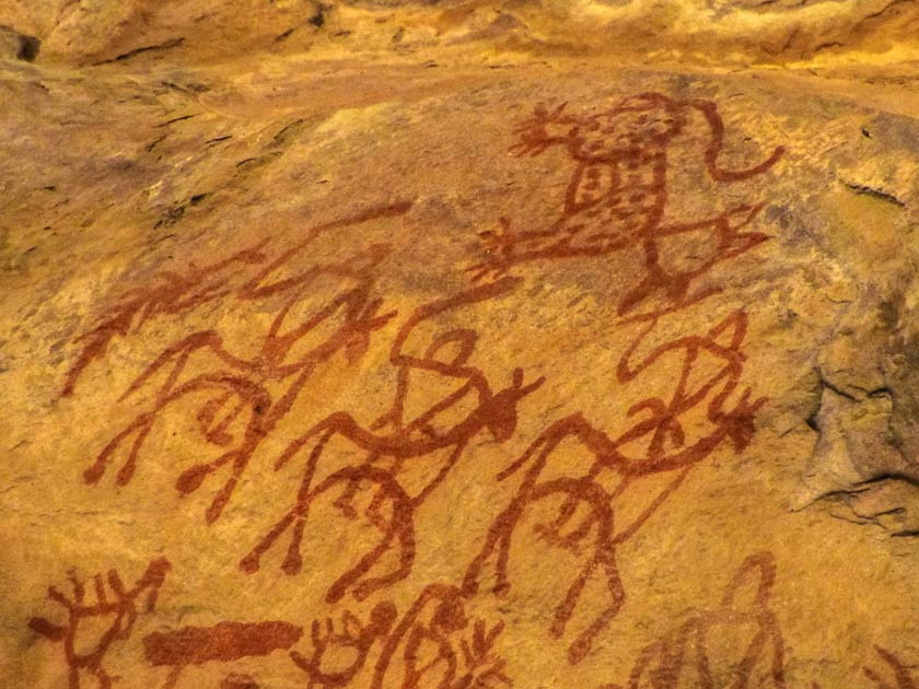 Stylised painted human images of the prehistoric cave paintings at Bhimbetka