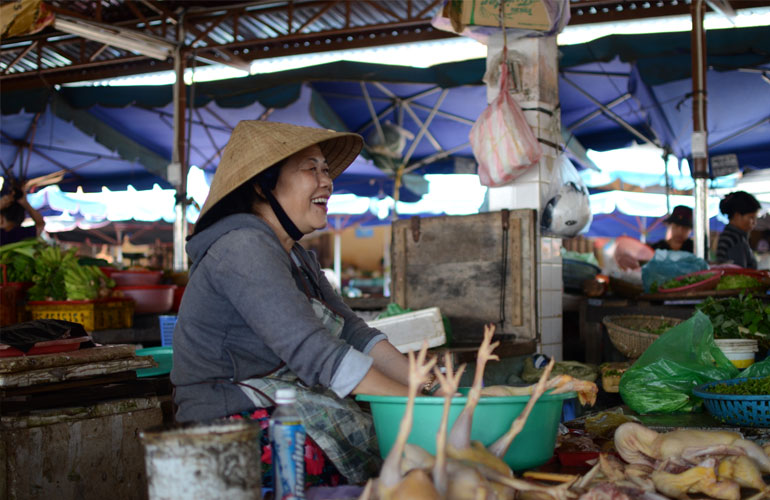 Lady at her market stall in Vietnam