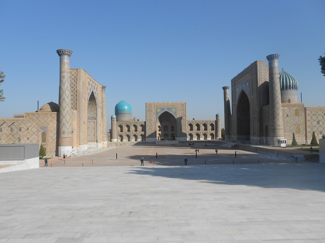 Classic view of the minarets and colourful domes of the Registan in Uzbekistan