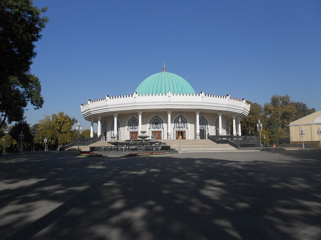 Turquoise dome of a circular building in the Uzbek capital Tashkent