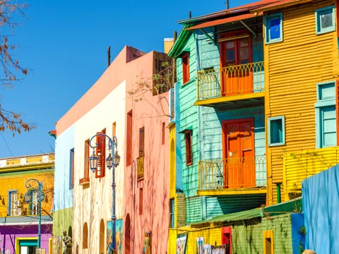 Multi-coloured wooden buildings in the Boca district of Buenos Aires