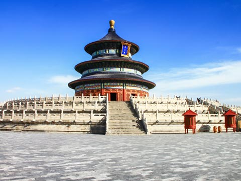 Paved courtyard and steps leading to the Temple of Heaven in Beijing
