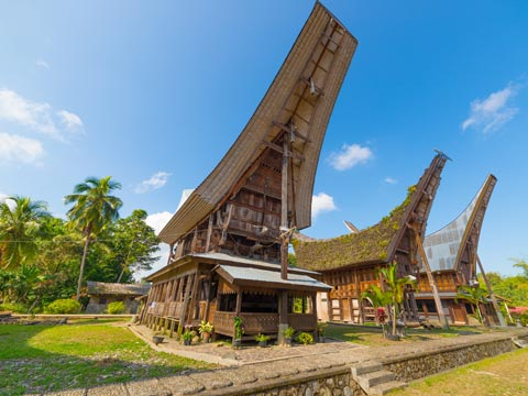 Traditional wooden homes in Sulawesi, Indonesia