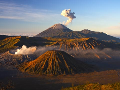 Smoking volcanoes of Bromo National Park in Java, Indonesia