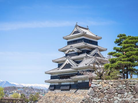 Traditional Japanese architecture of Matsumoto Castle in Japan