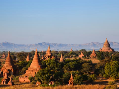 Stone Stupas and temples of Bagan on the flood plain of the Irrawaddy River
