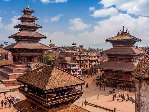 Tiered wooden roofs Nepalese temples in an ancient public square, Bhaktapur