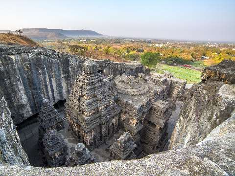 Looking down into the Kailasa Temple carved out of solid rock at Ellora