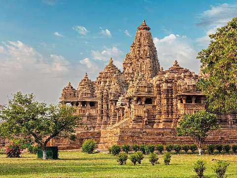 Decoratively carved Kandariya Mahadev Temple at Khajuraho