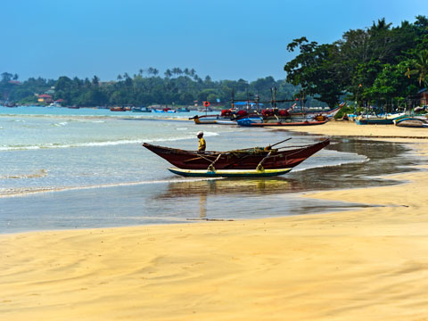 Golden palm-fringed beach with local fisherman and boat in Kerala