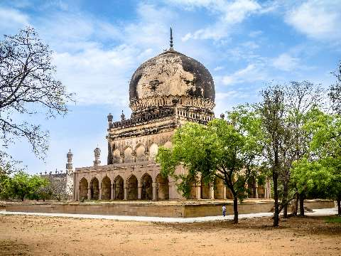 Dome and porticoes of the Qutb Shahi Tombs in Hyderabad, India
