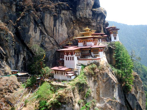 Bhutanese monastery at Taktsang clinging to mountain ledge