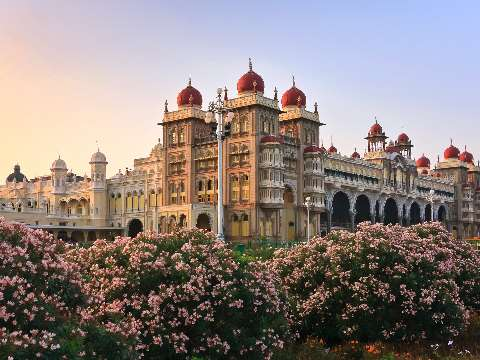 View of the City Palace in Mysore at dusk