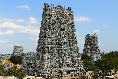 Multi-coloured and highly decorated gopurams of the Shree Meenakshi temple complex in Madurai