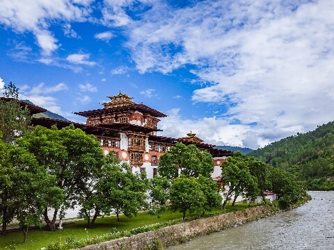 Wooden Dzong at Punakha surrounded by trees and overlooking a river
