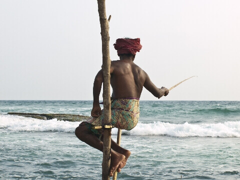 Sri Lankan fisherman in red turban sitting on a wooden ledge fishing in the sea