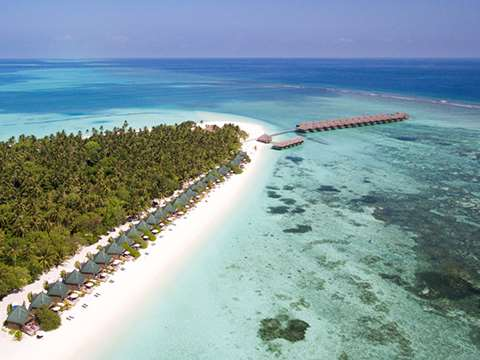 View of the Meeru Island Resort in the Maldives