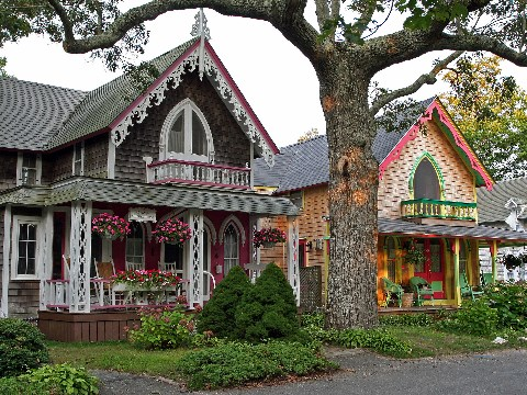 Intricate wooden gingerbread style homes in Martha's Vineyard