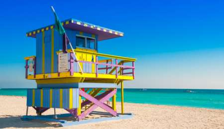 Lifeguard tower on South Beach Miami