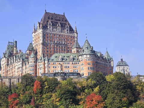 View of the Gothic architecture of Chateau Frontenac in Quebec City