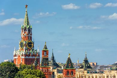 Red and green spire of Spasskaya Tower in Moscow