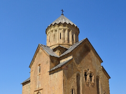 Circular brick spire of a church in Armenia
