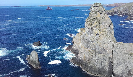Rocky outcrops in the Shetland Islands
