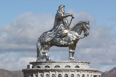 Silver statue of Genghis Khan riding a horse in Ulaanbaatar, Mongolia