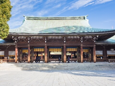 Traditional Japanese wooden architecture of Meiji Shrine in Tokyo