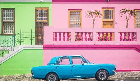 Old car in colourful Bo-Kapp in Cape Town