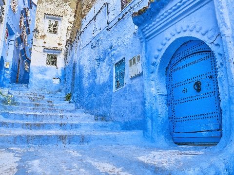 Blue-painted street in the old medina of Chefchaouen