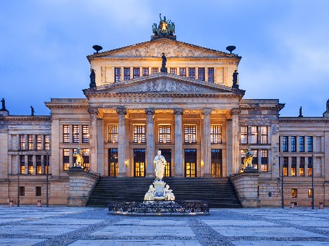 Berlin opera house frontage at dusk