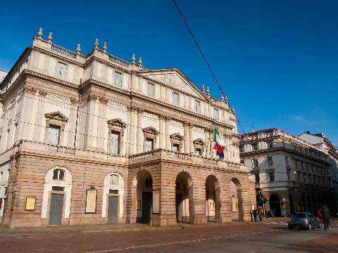 Frontage of La Scala opera house in Milan