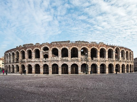 Outside view of the ancient Arena di Verona