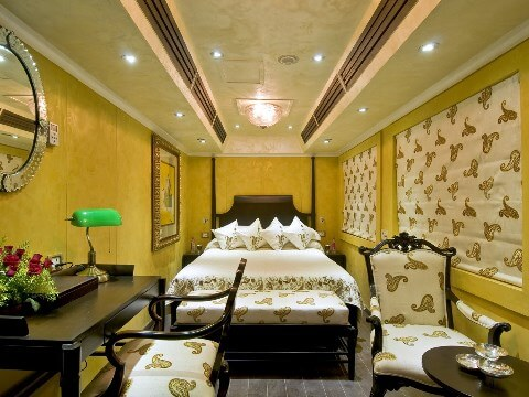 Interior of a luxurious cabin on the Palace on Wheels train