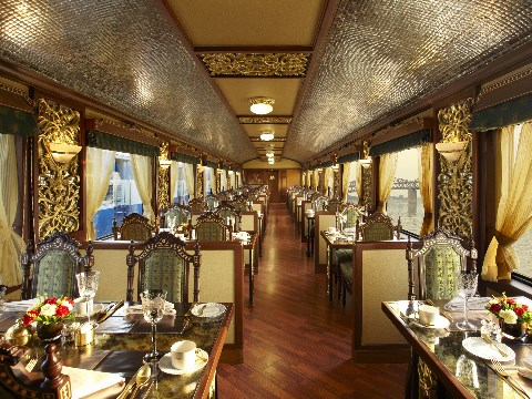 The dining room on board the Maharajas Express train in India
