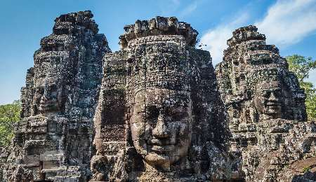 Bayon Temple statues at the Angkor complex in Siem Reap