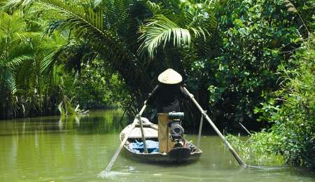 Local rowing through the Mekong Delta in Vietnam